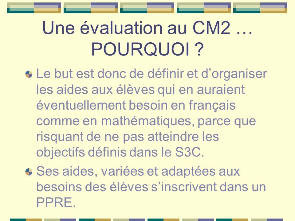 Une évaluation au CM2 … POURQUOI ? Le but est donc de définir et dorganiser les aides aux élèves qui en auraient éventuellement besoin en français com