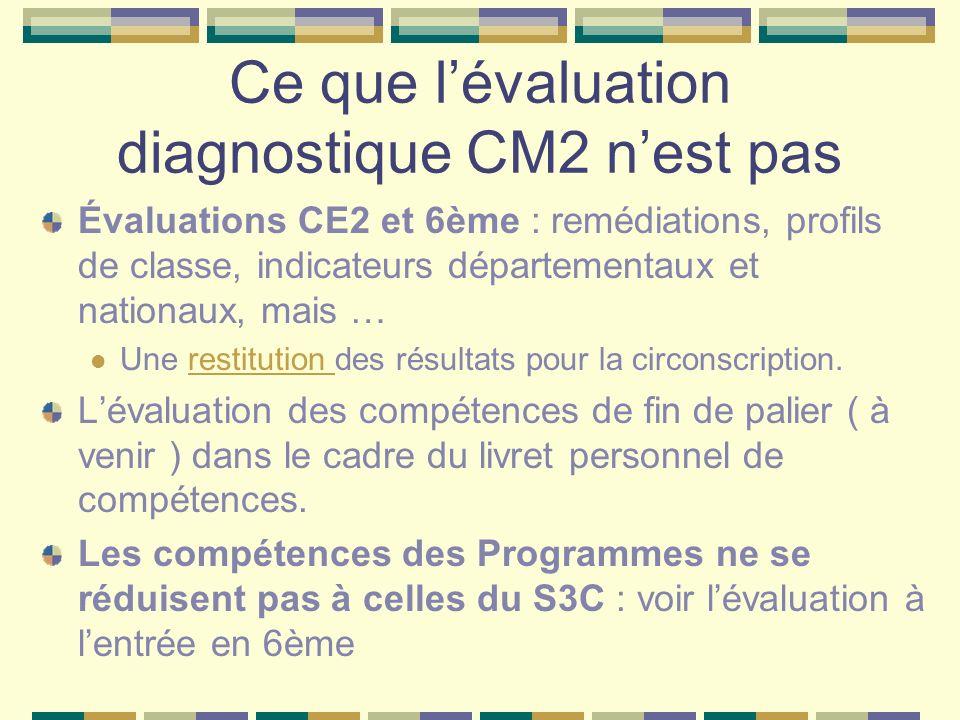Ce que lévaluation diagnostique CM2 nest pas Évaluations CE2 et 6ème : remédiations, profils de classe, indicateurs départementaux et nationaux, mais