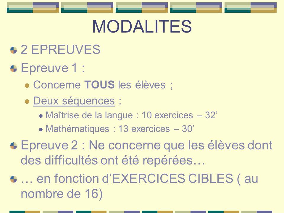 MODALITES 2 EPREUVES Epreuve 1 : Concerne TOUS les élèves ; Deux séquences : Maîtrise de la langue : 10 exercices – 32 Mathématiques : 13 exercices – 30 Epreuve 2 : Ne concerne que les élèves dont des difficultés ont été repérées… … en fonction dEXERCICES CIBLES ( au nombre de 16)