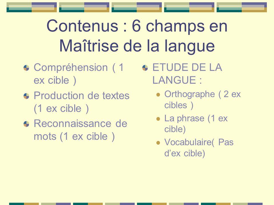 Contenus : 6 champs en Maîtrise de la langue Compréhension ( 1 ex cible ) Production de textes (1 ex cible ) Reconnaissance de mots (1 ex cible ) ETUDE DE LA LANGUE : Orthographe ( 2 ex cibles ) La phrase (1 ex cible) Vocabulaire( Pas dex cible)