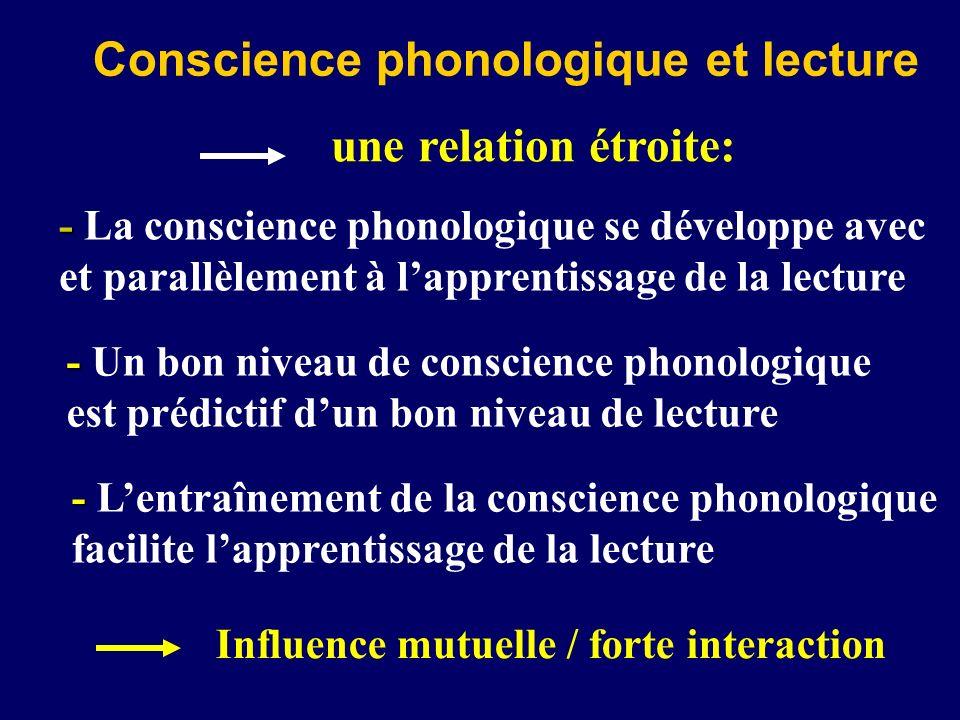 Conscience phonologique et lecture une relation étroite: - - La conscience phonologique se développe avec et parallèlement à lapprentissage de la lect