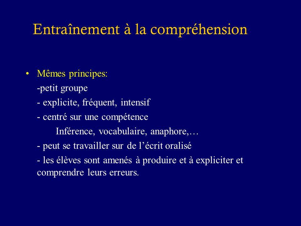 Mêmes principes: -petit groupe - explicite, fréquent, intensif - centré sur une compétence Inférence, vocabulaire, anaphore,… - peut se travailler sur