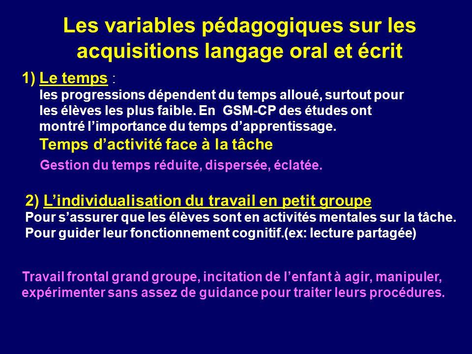 Les variables pédagogiques sur les acquisitions langage oral et écrit 2) Lindividualisation du travail en petit groupe Pour sassurer que les élèves so