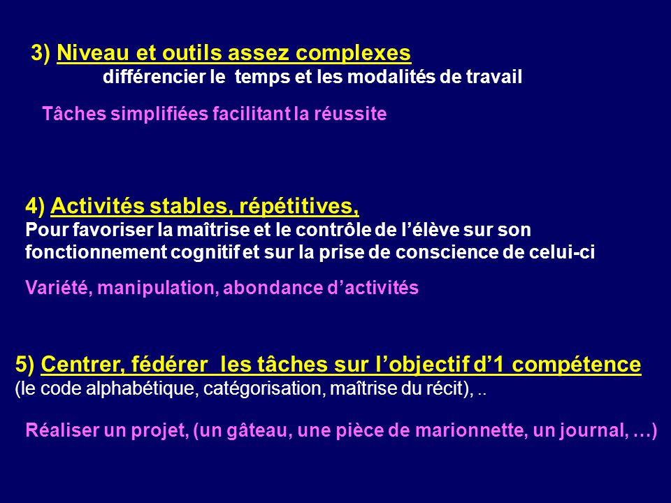 5) Centrer, fédérer les tâches sur lobjectif d1 compétence (le code alphabétique, catégorisation, maîtrise du récit),.. 4) Activités stables, répétiti
