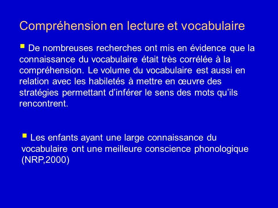 Compréhension en lecture et vocabulaire De nombreuses recherches ont mis en évidence que la connaissance du vocabulaire était très corrélée à la compr