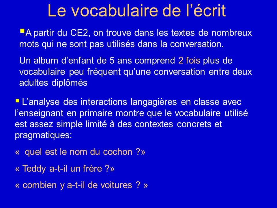 Le vocabulaire de lécrit D A partir du CE2, on trouve dans les textes de nombreux mots qui ne sont pas utilisés dans la conversation. Un album denfant