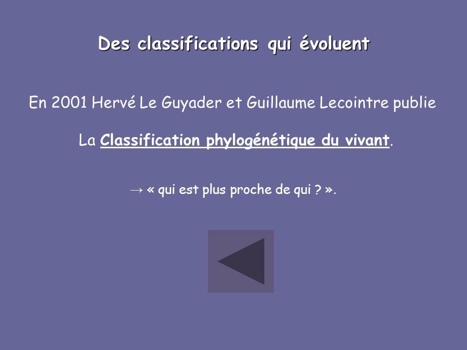 Des classifications qui évoluent En 2001 Hervé Le Guyader et Guillaume Lecointre publie La Classification phylogénétique du vivant. « qui est plus pro