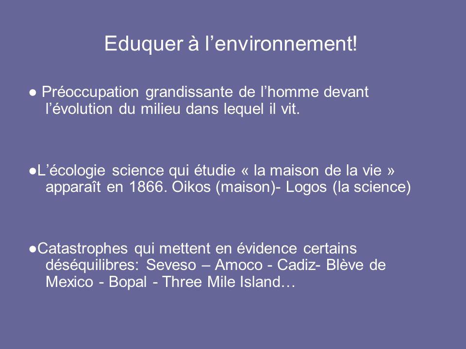 Eduquer à lenvironnement! Préoccupation grandissante de lhomme devant lévolution du milieu dans lequel il vit. Lécologie science qui étudie « la maiso