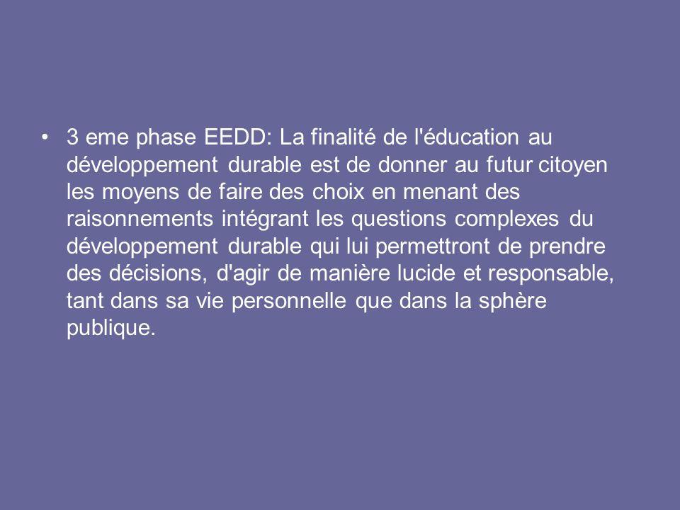3 eme phase EEDD: La finalité de l'éducation au développement durable est de donner au futur citoyen les moyens de faire des choix en menant des raiso