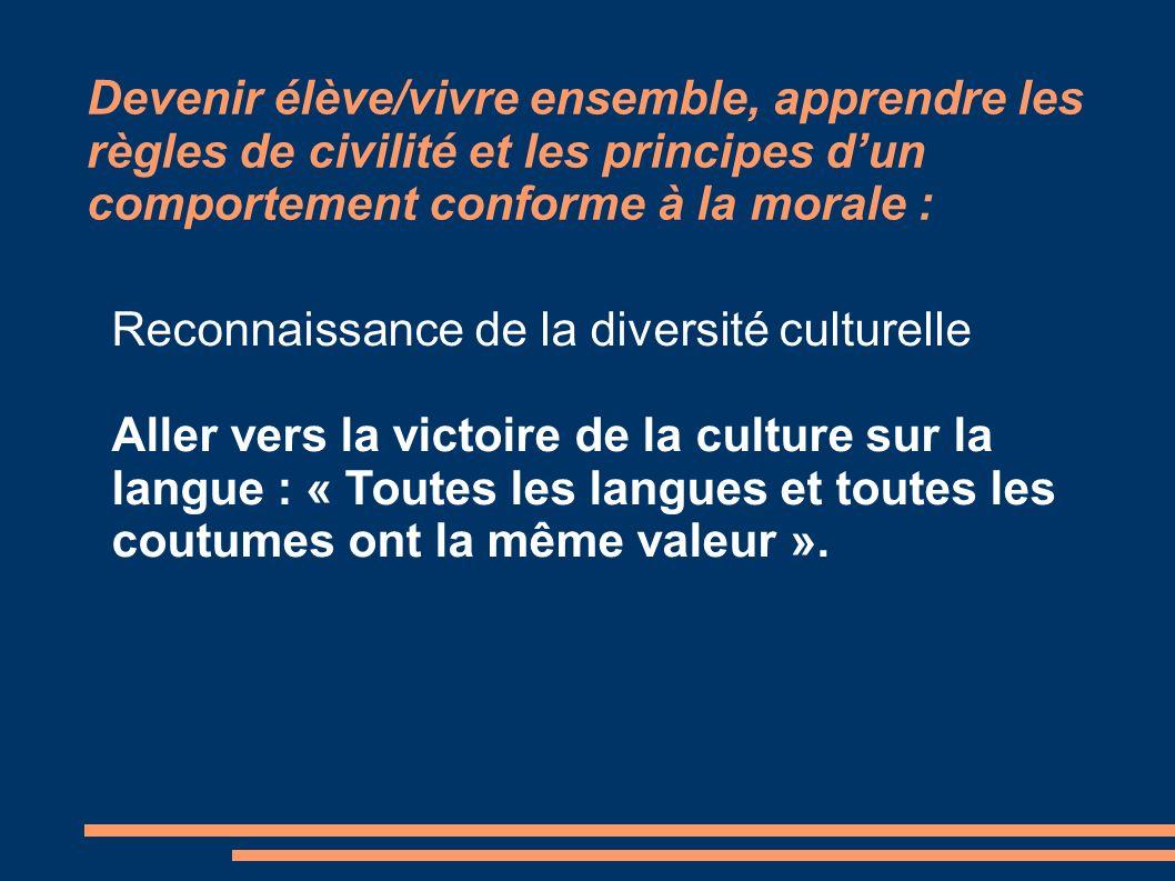 Devenir élève/vivre ensemble, apprendre les règles de civilité et les principes dun comportement conforme à la morale : Reconnaissance de la diversité