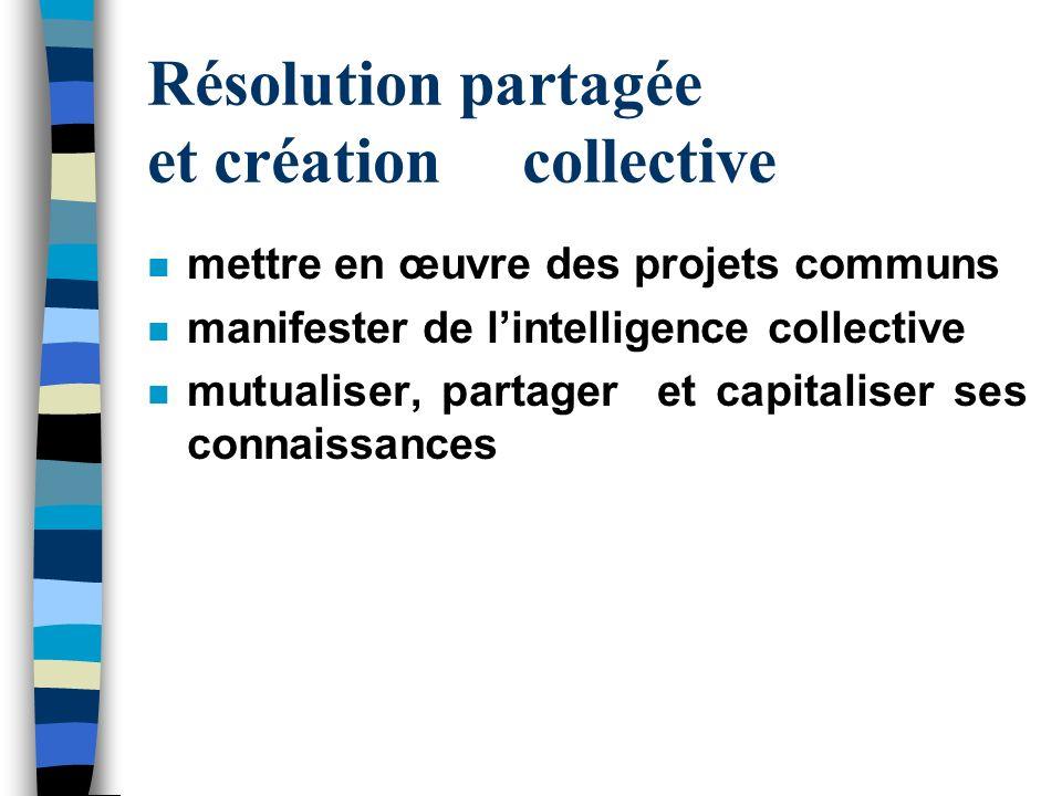 Résolution partagée et création collective n mettre en œuvre des projets communs n manifester de lintelligence collective n mutualiser, partager et ca