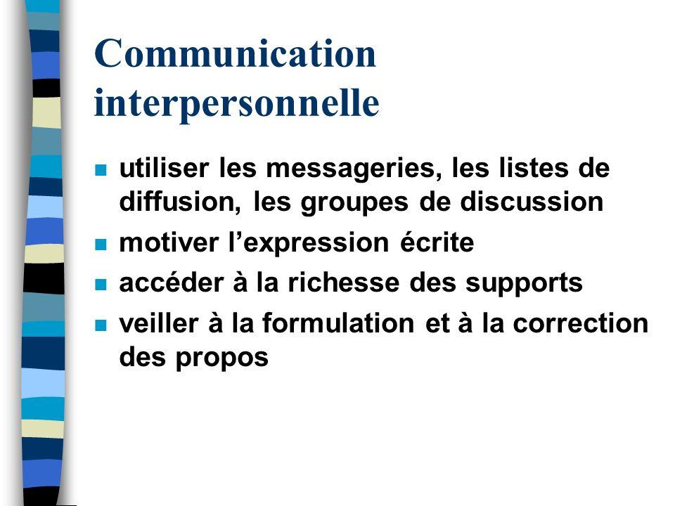 Communication interpersonnelle n utiliser les messageries, les listes de diffusion, les groupes de discussion n motiver lexpression écrite n accéder à