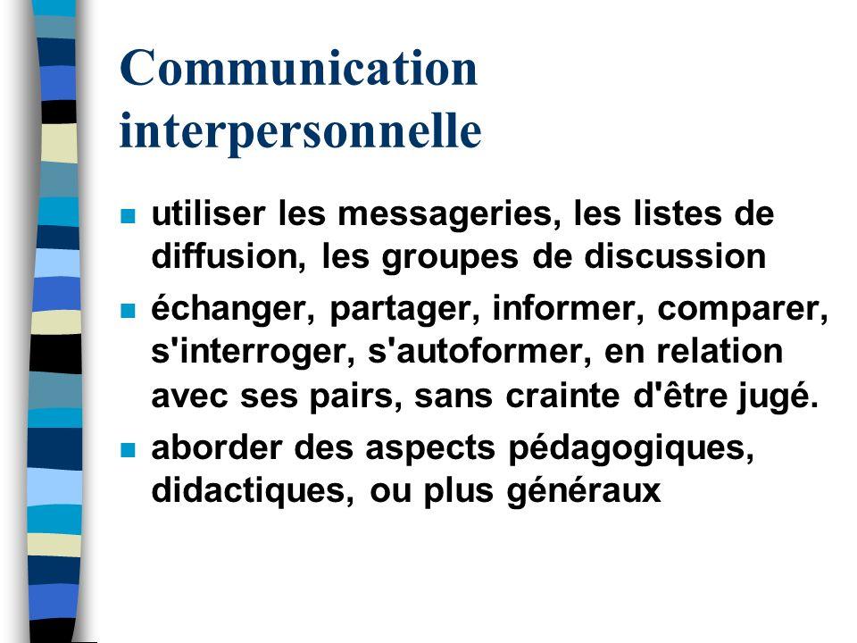 Communication interpersonnelle n utiliser les messageries, les listes de diffusion, les groupes de discussion n échanger, partager, informer, comparer