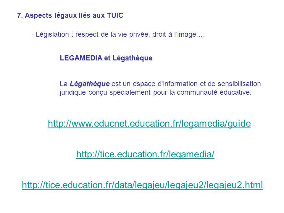 7. Aspects légaux liés aux TUIC - Législation : respect de la vie privée, droit à limage,… LEGAMEDIA et Légathèque Légathèque La Légathèque est un esp