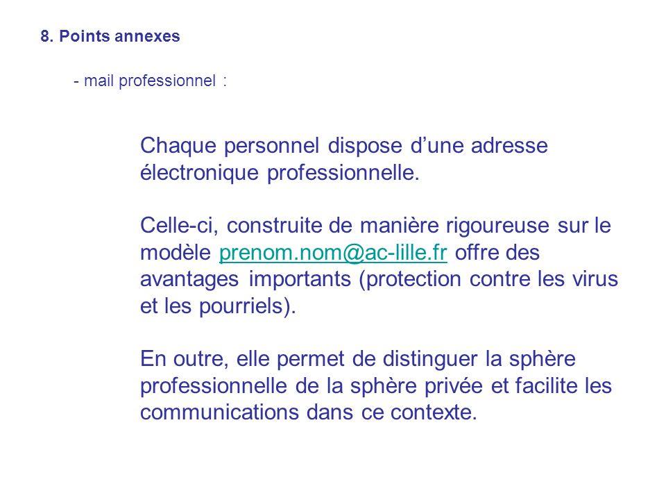 8. Points annexes - mail professionnel : Chaque personnel dispose dune adresse électronique professionnelle. Celle-ci, construite de manière rigoureus
