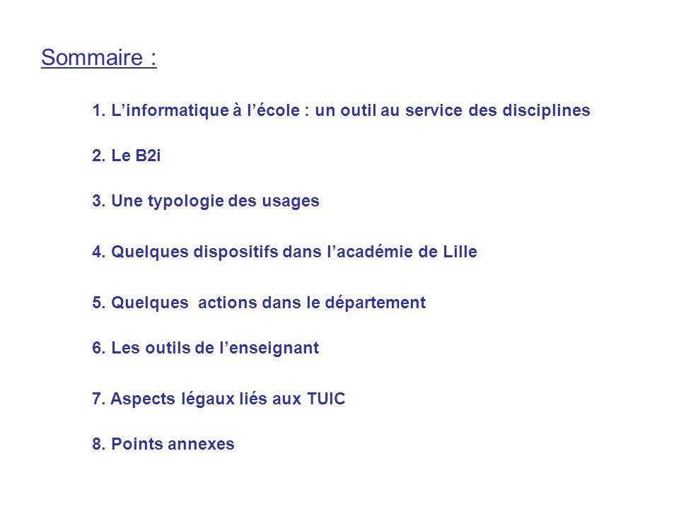7. Aspects légaux liés aux TUIC 8. Points annexes Sommaire : 5. Quelques actions dans le département 6. Les outils de lenseignant 4. Quelques disposit