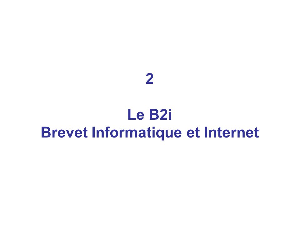 2 Le B2i Brevet Informatique et Internet