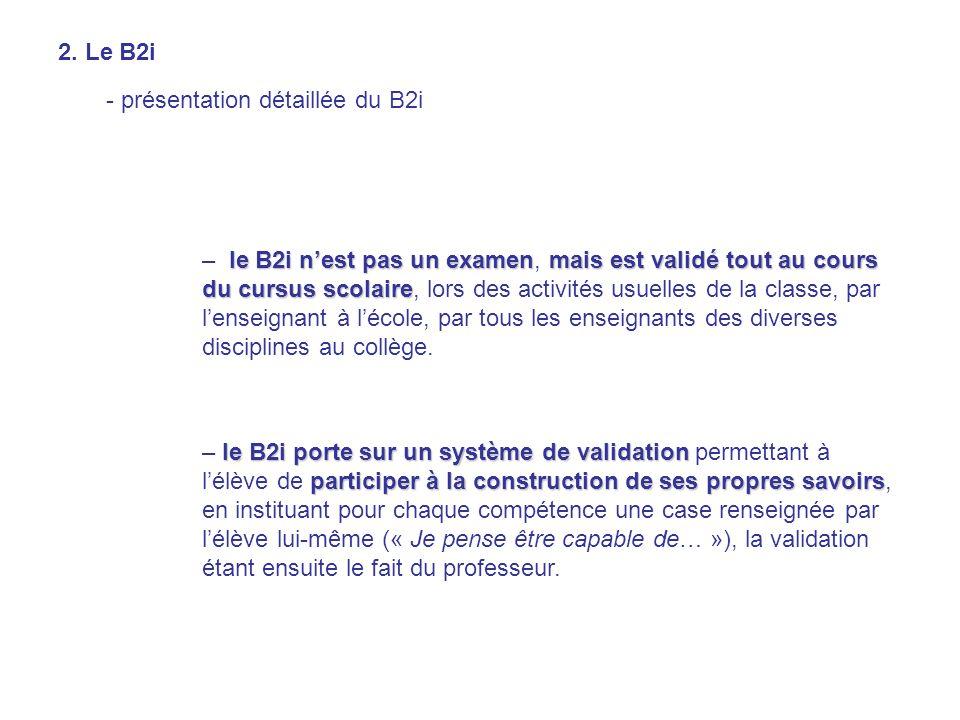 le B2i nest pas un examenmais est validé tout au cours du cursus scolaire – le B2i nest pas un examen, mais est validé tout au cours du cursus scolair