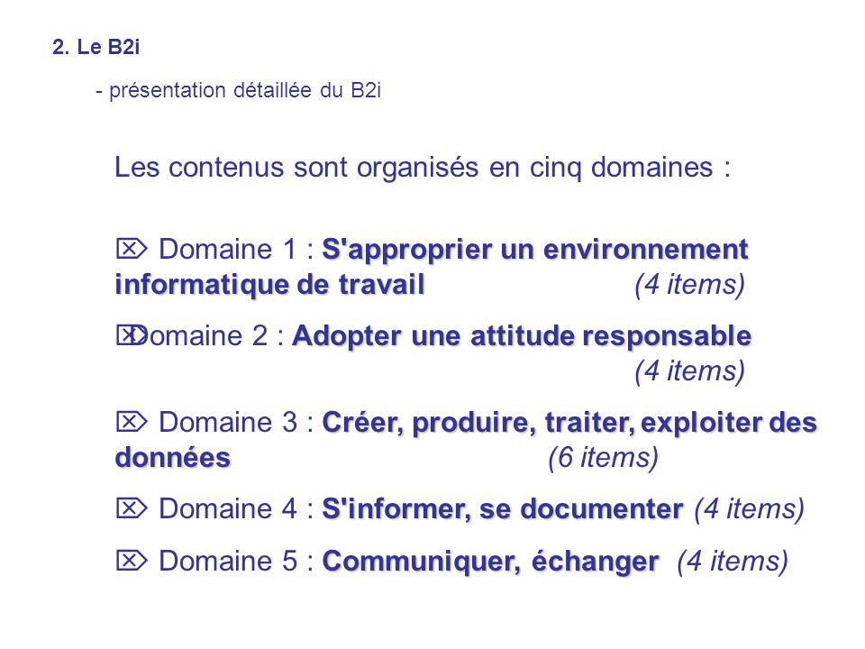 Les contenus sont organisés en cinq domaines : S'approprier un environnement informatique de travail Domaine 1 : S'approprier un environnement informa