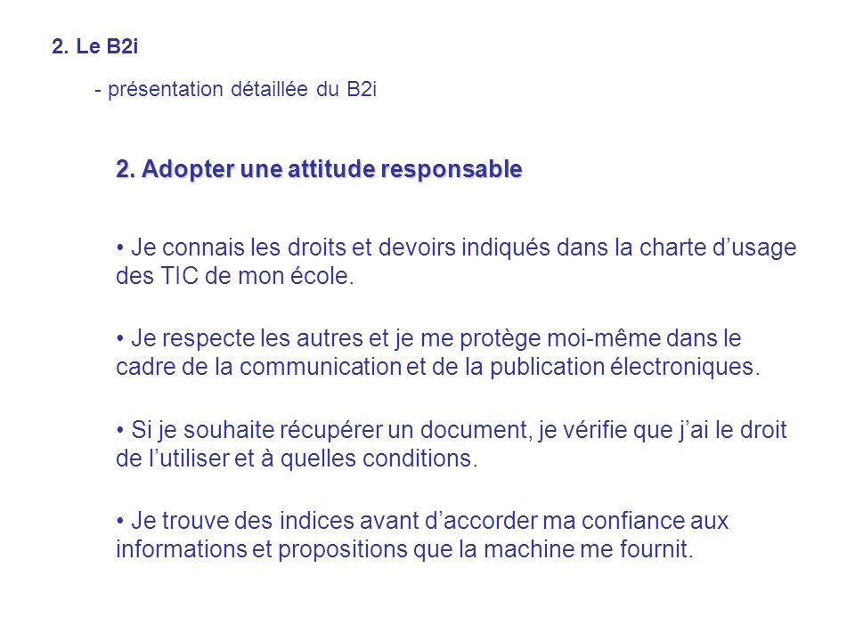 2. Adopter une attitude responsable Je connais les droits et devoirs indiqués dans la charte dusage des TIC de mon école. Je respecte les autres et je