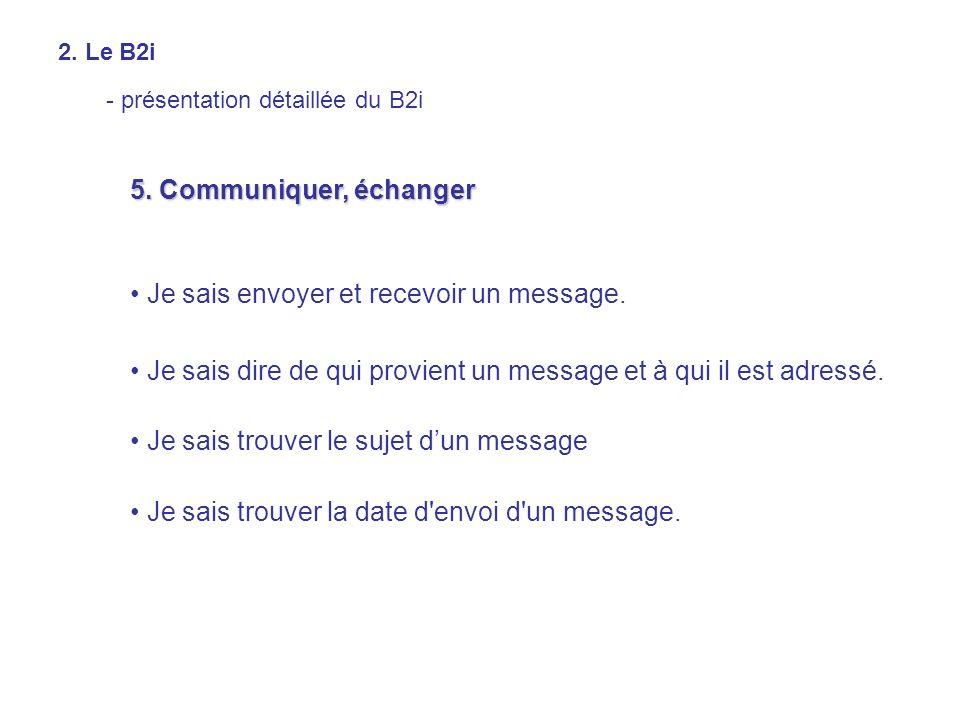 5. Communiquer, échanger Je sais envoyer et recevoir un message. Je sais dire de qui provient un message et à qui il est adressé. Je sais trouver le s