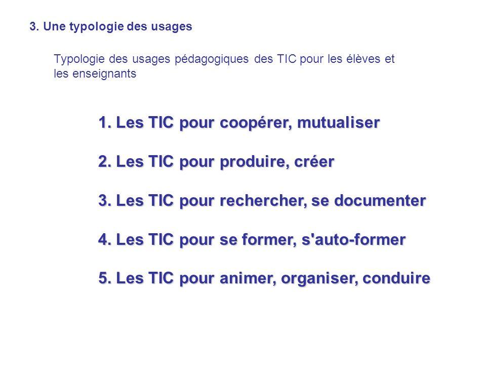 3. Une typologie des usages Typologie des usages pédagogiques des TIC pour les élèves et les enseignants 1. Les TIC pour coopérer, mutualiser 2. Les T