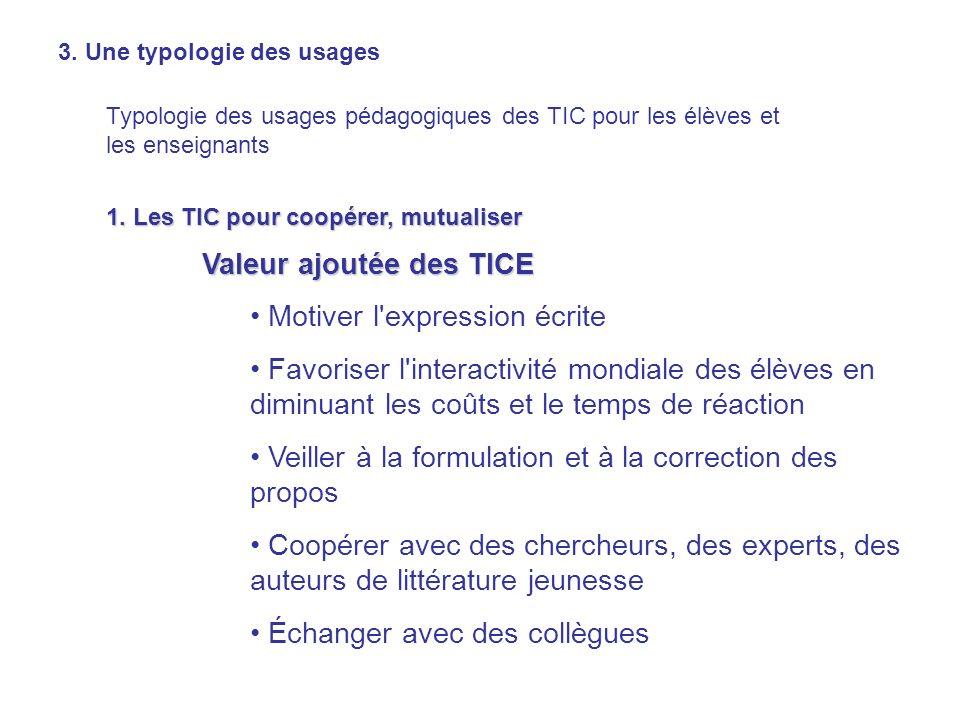 3. Une typologie des usages Typologie des usages pédagogiques des TIC pour les élèves et les enseignants 1. Les TIC pour coopérer, mutualiser Valeur a