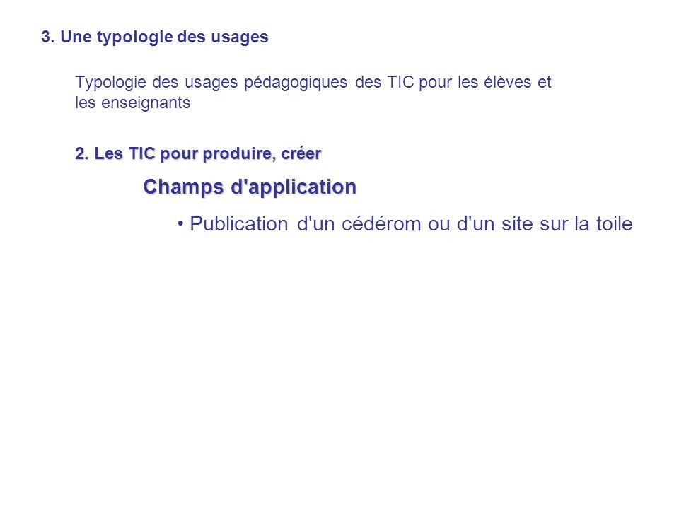 3. Une typologie des usages Typologie des usages pédagogiques des TIC pour les élèves et les enseignants 2. Les TIC pour produire, créer Champs d'appl