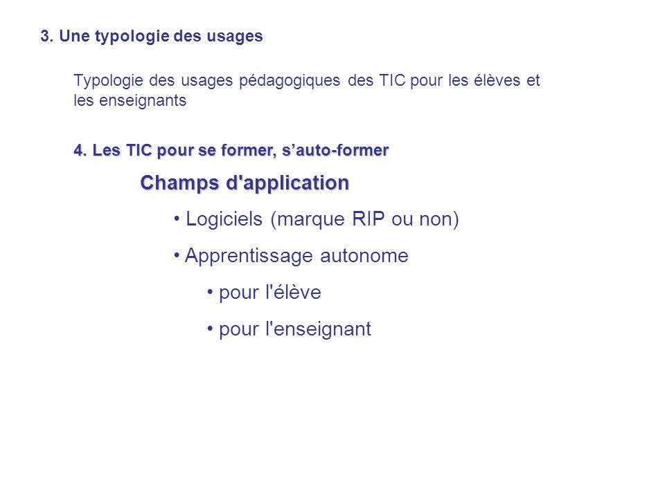 3. Une typologie des usages Typologie des usages pédagogiques des TIC pour les élèves et les enseignants 4. Les TIC pour se former, sauto-former Champ