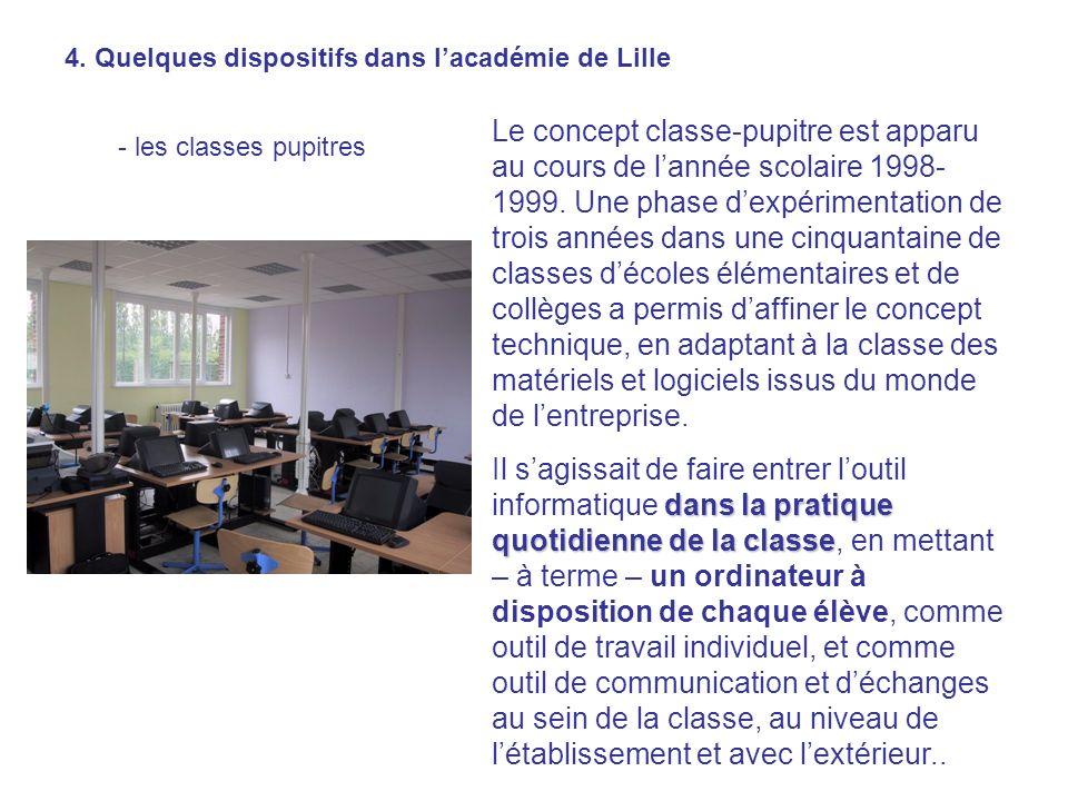 4. Quelques dispositifs dans lacadémie de Lille - les classes pupitres Le concept classe-pupitre est apparu au cours de lannée scolaire 1998- 1999. Un