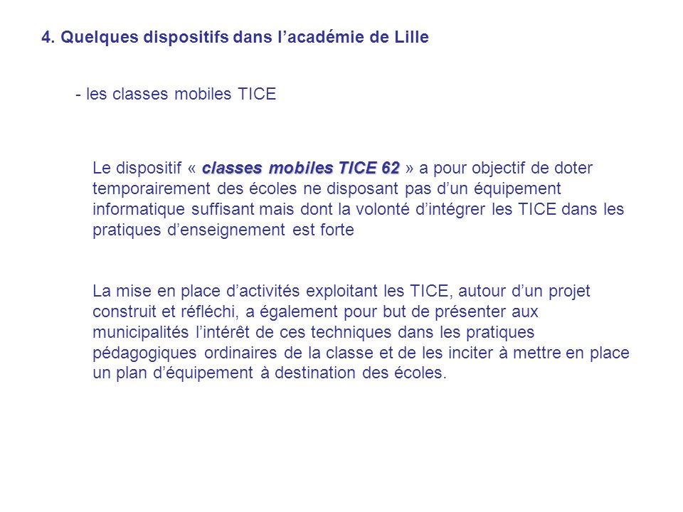 4. Quelques dispositifs dans lacadémie de Lille - les classes mobiles TICE classes mobiles TICE 62 Le dispositif « classes mobiles TICE 62 » a pour ob