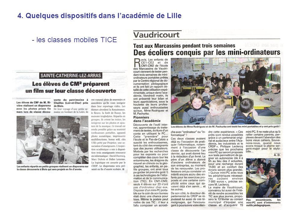 4. Quelques dispositifs dans lacadémie de Lille - les classes mobiles TICE