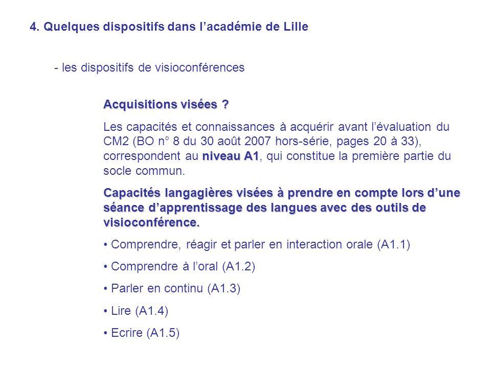 4. Quelques dispositifs dans lacadémie de Lille - les dispositifs de visioconférences Acquisitions visées ? niveau A1 Les capacités et connaissances à
