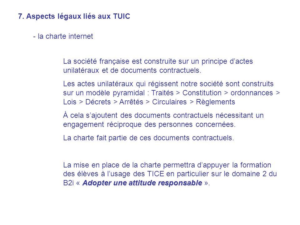 7. Aspects légaux liés aux TUIC - la charte internet La société française est construite sur un principe dactes unilatéraux et de documents contractue