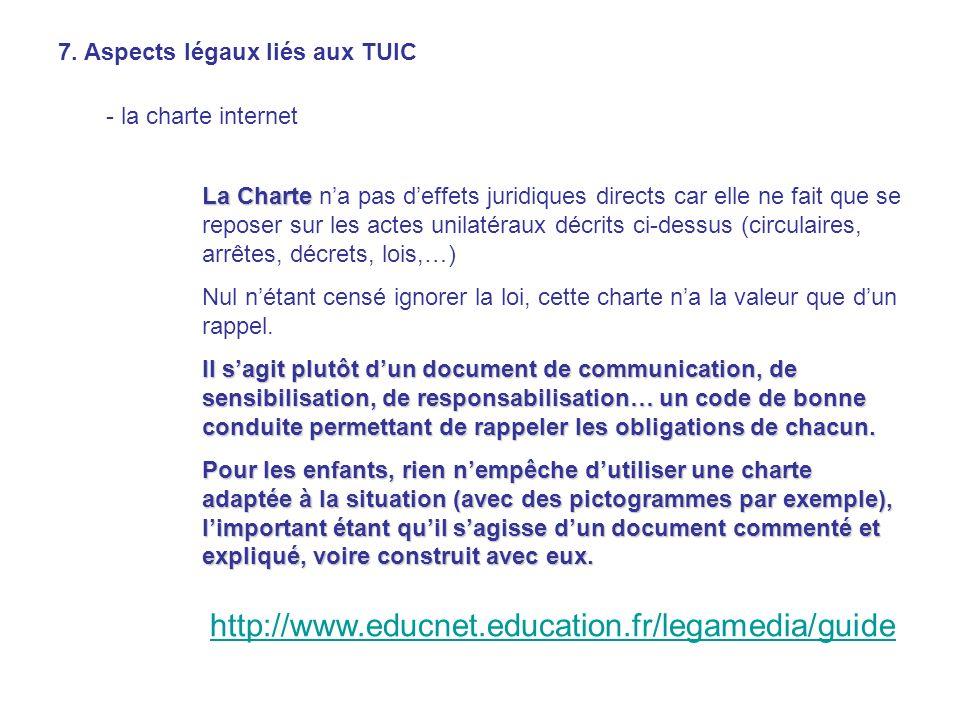 7. Aspects légaux liés aux TUIC - la charte internet La Charte La Charte na pas deffets juridiques directs car elle ne fait que se reposer sur les act