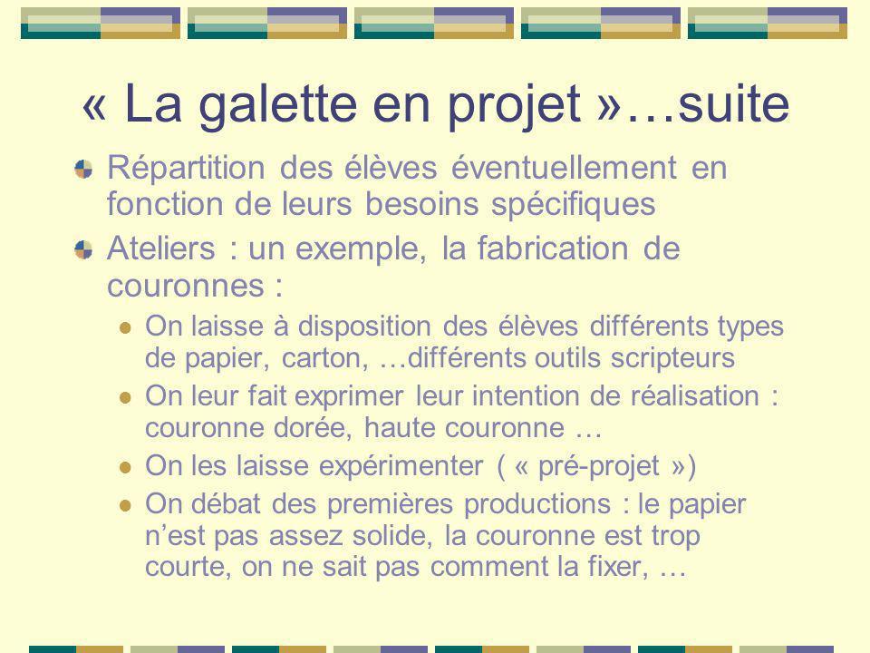 « La galette en projet »…suite Répartition des élèves éventuellement en fonction de leurs besoins spécifiques Ateliers : un exemple, la fabrication de