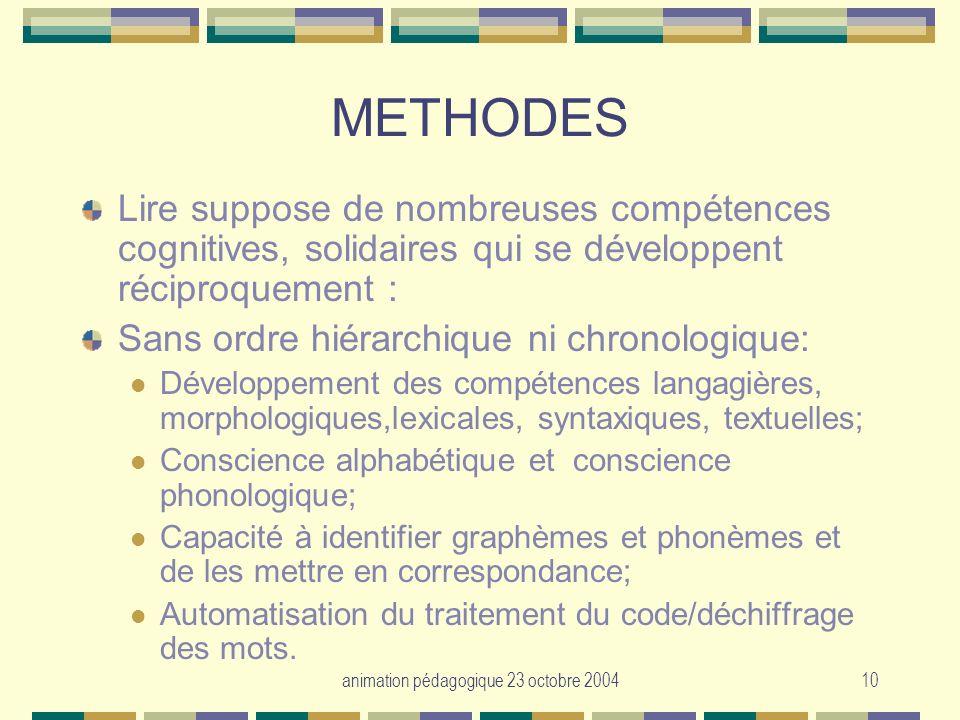 animation pédagogique 23 octobre 200410 METHODES Lire suppose de nombreuses compétences cognitives, solidaires qui se développent réciproquement : San