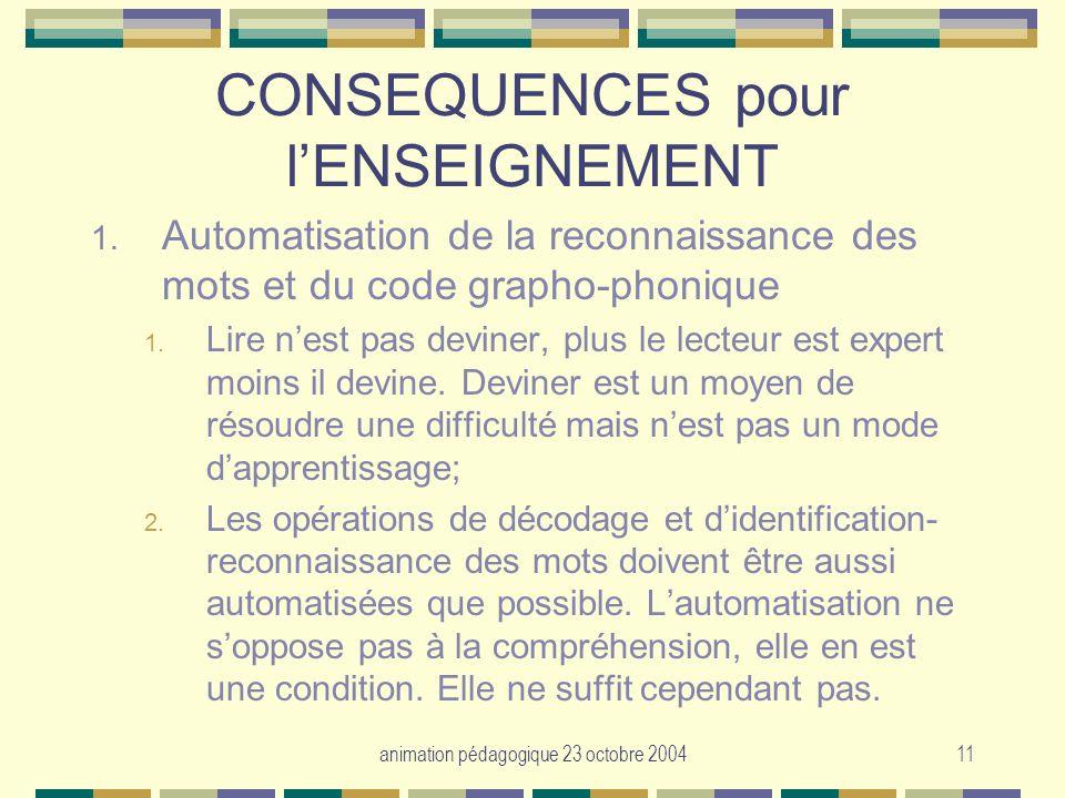 animation pédagogique 23 octobre 200411 CONSEQUENCES pour lENSEIGNEMENT 1. Automatisation de la reconnaissance des mots et du code grapho-phonique 1.