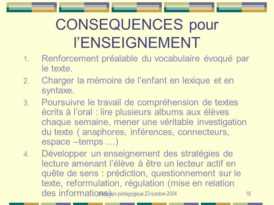 animation pédagogique 23 octobre 200418 CONSEQUENCES pour lENSEIGNEMENT 1. Renforcement préalable du vocabulaire évoqué par le texte. 2. Charger la mé