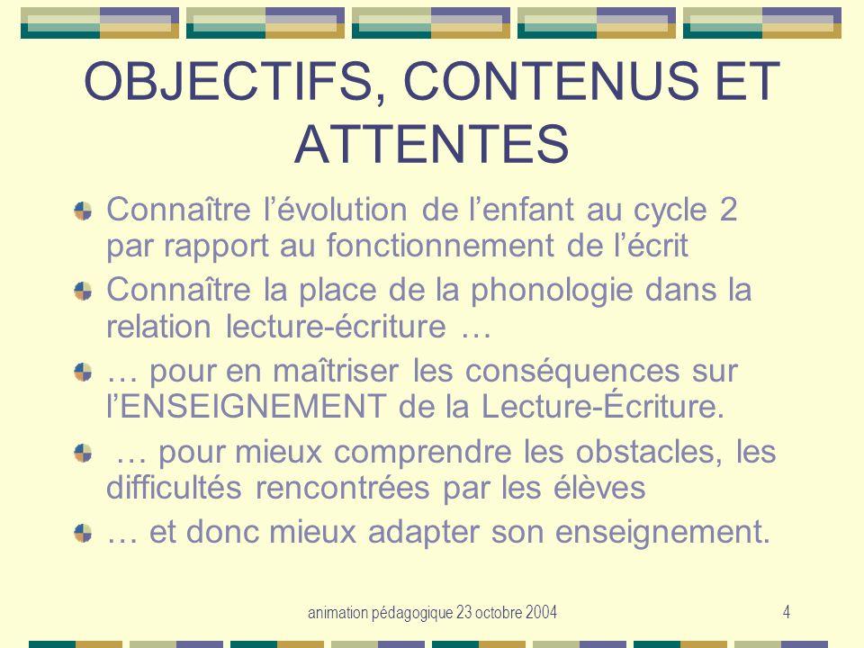 animation pédagogique 23 octobre 20044 OBJECTIFS, CONTENUS ET ATTENTES Connaître lévolution de lenfant au cycle 2 par rapport au fonctionnement de léc
