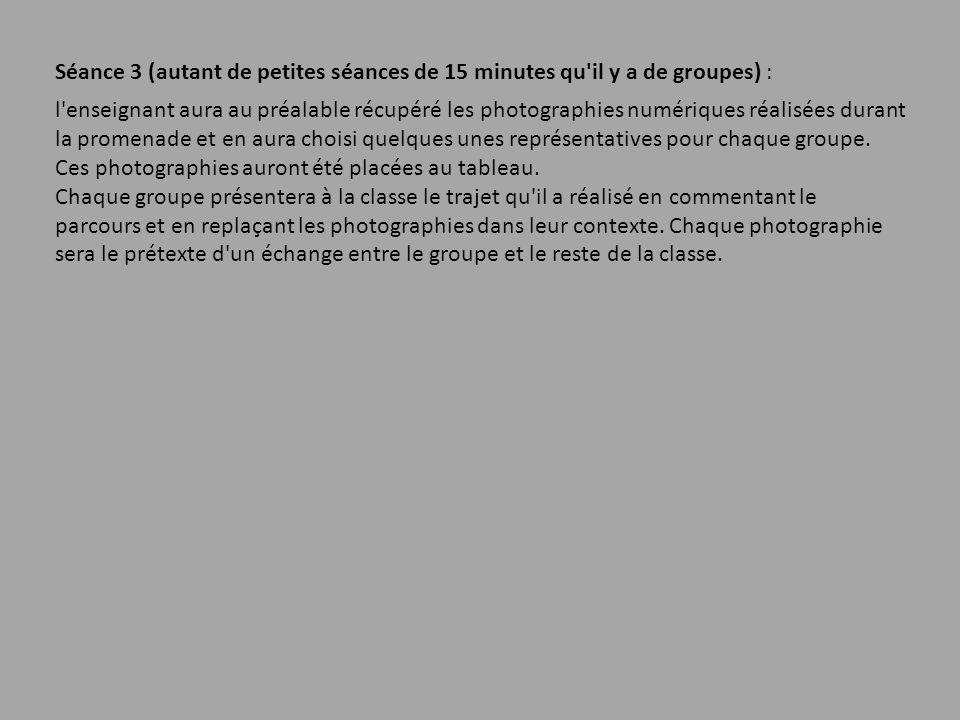Séance 3 (autant de petites séances de 15 minutes qu'il y a de groupes) : l'enseignant aura au préalable récupéré les photographies numériques réalisé