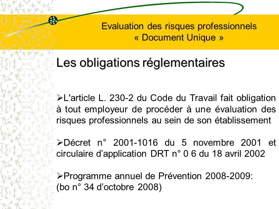 Evaluation des risques professionnels « Document Unique » L'article L. 230-2 du Code du Travail fait obligation à tout employeur de procéder à une éva