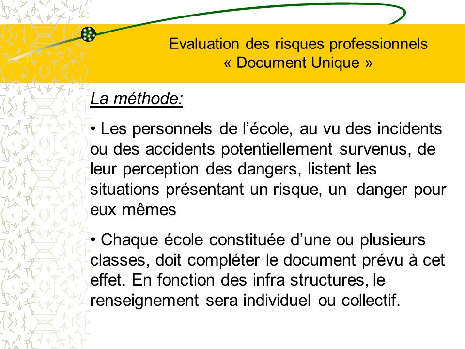 Evaluation des risques professionnels « Document Unique » En résumé: Le « document unique » est la finalité des étapes qui consistent à identifier et à classer les risques (dans les écoles) en vue de mettre en place des actions de prévention.