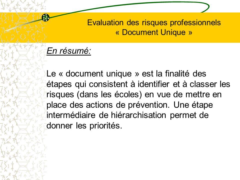 Evaluation des risques professionnels « Document Unique » En résumé: Le « document unique » est la finalité des étapes qui consistent à identifier et