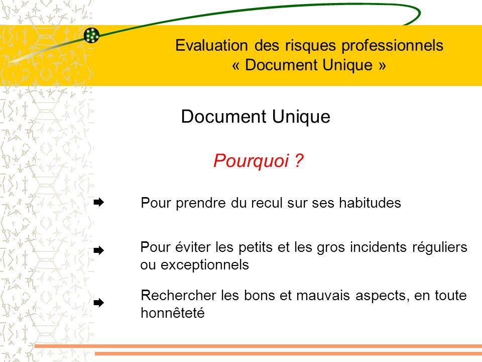 Evaluation des risques professionnels « Document Unique » Document Unique Pourquoi ? Pour prendre du recul sur ses habitudes Pour éviter les petits et