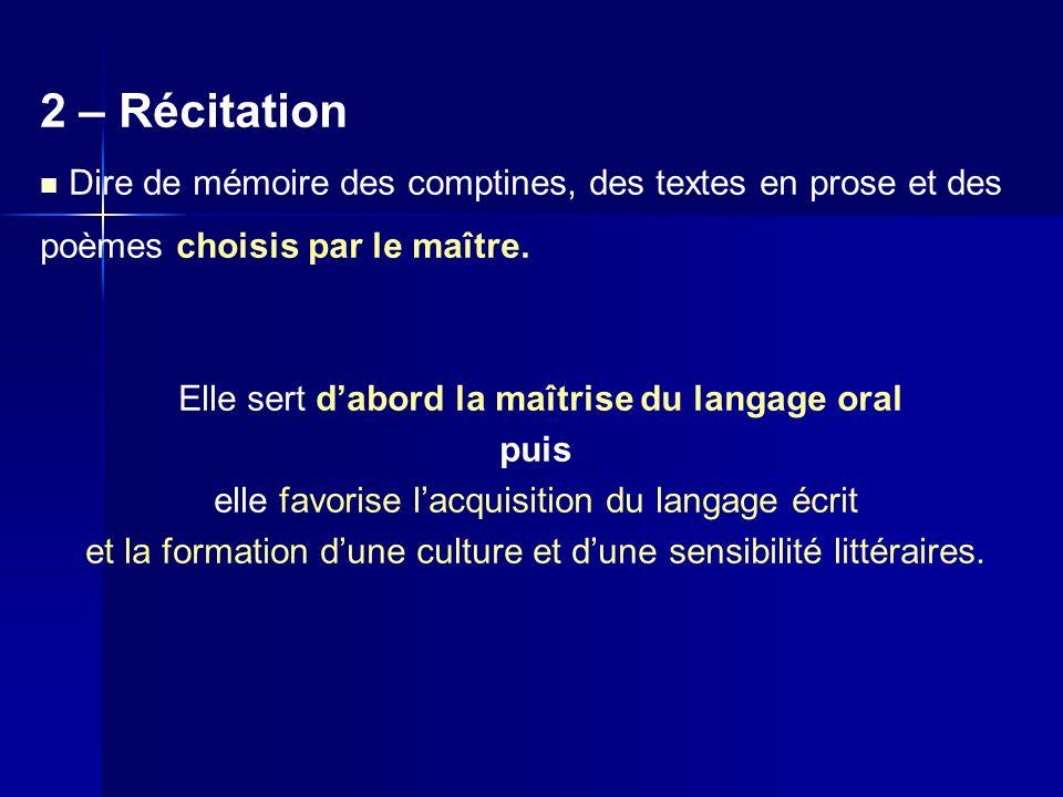 2 – Récitation Dire de mémoire des comptines, des textes en prose et des poèmes choisis par le maître. Elle sert dabord la maîtrise du langage oral pu