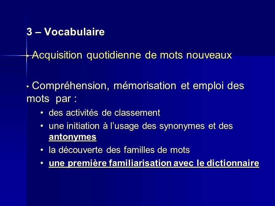3 – Vocabulaire Acquisition quotidienne de mots nouveaux Acquisition quotidienne de mots nouveaux Compréhension, mémorisation et emploi des mots par :