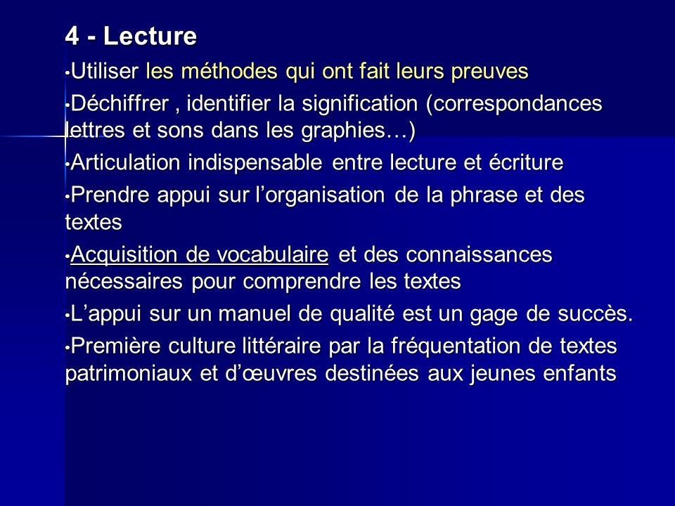 4 - Lecture Utiliser les méthodes qui ont fait leurs preuves Utiliser les méthodes qui ont fait leurs preuves Déchiffrer, identifier la signification
