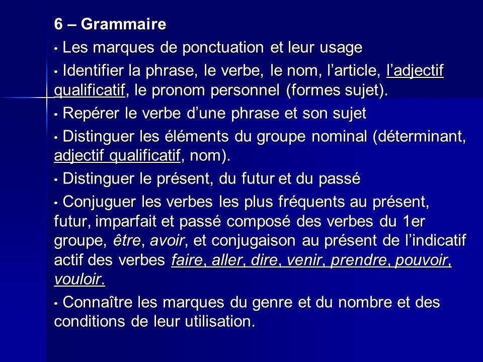6 – Grammaire Les marques de ponctuation et leur usage Les marques de ponctuation et leur usage Identifier la phrase, le verbe, le nom, larticle, ladj