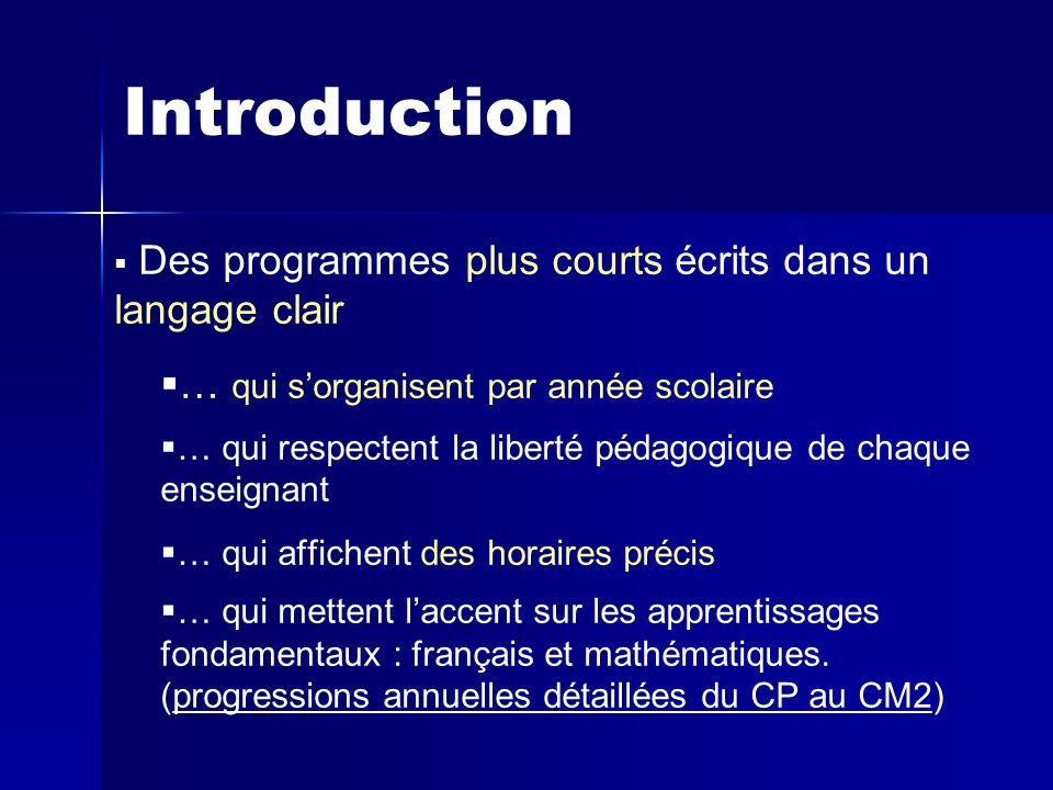 Introduction Des programmes plus courts écrits dans un langage clair … qui sorganisent par année scolaire … qui respectent la liberté pédagogique de c